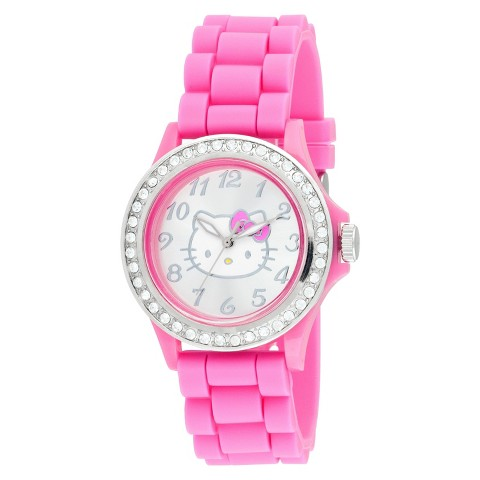 Hello Kitty Analog Watch with Pink Plastic Case and Clear Stonesand Linked Strap - Pink