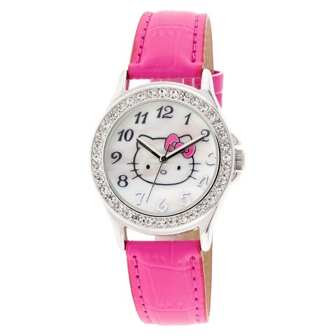 Hello Kitty Analog Watch with Clear Stone Encrusted Case  - Pink