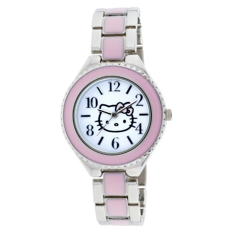 Hello Kitty Analog Watch with Metal Linked Band - Silver/Pink