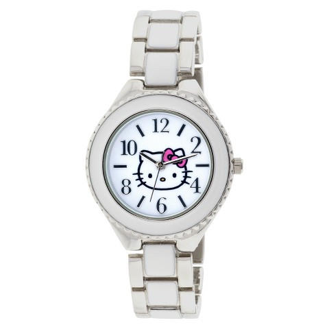 Hello Kitty Analog Watch with Metal Linked Band - Silver/White