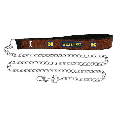 Michigan Wolverines Leather Chain Leash