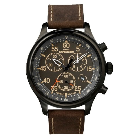 Men's Timex Chronograph Expedition Watch with Leather Strap Watch - Brown/Black