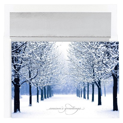 Snow Covered Tree Line 18 ct Boxed Cards