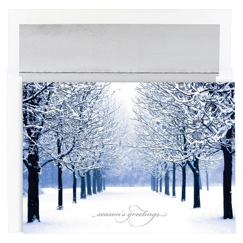 Snow Covered Trees Holidays Boxed Cards (18 count)