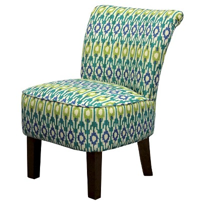 Threshold™ Rounded Back Chair - Blue/Green Ikat Geo