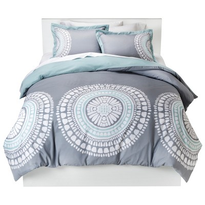 Medallion Duvet Cover Set (King) Gray - Room Essentials™
