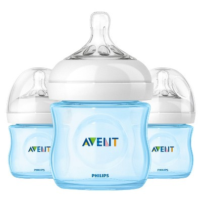 Philips Avent Natural Bottle (Blue) - 4 oz ( 3 Pack)