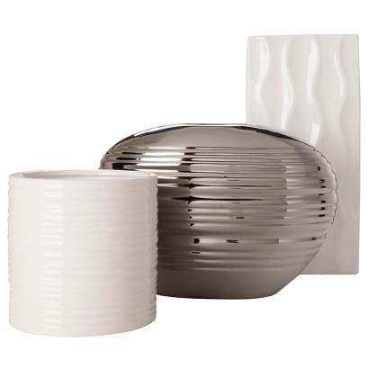 Torre & Tagus Short Ripple Rectangular Vase White - 9.25
