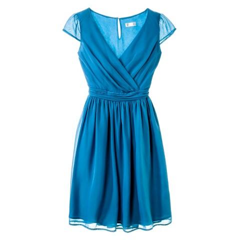 Women's Chiffon Cap Sleeve V-Neck Bridesmaid Dress Fashion Colors - TEVOLIO&#153