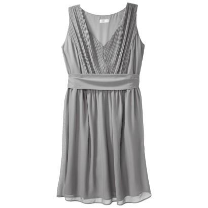 TEVOLIO™  Women's Chiffon V-Neck Pleated Dress -  Neutral Colors