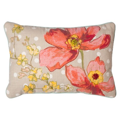 "Floral Print Decorative Pillow (12""x18"") Multicolored - Threshold™"
