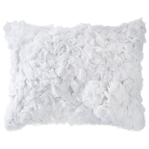 Simply Shabby Chic® Ruffle Rosette Decorative Pillow - White