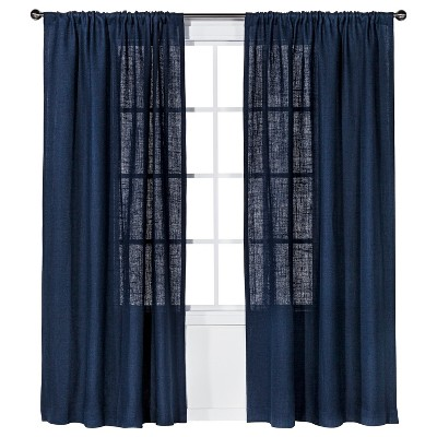 "Burlap Curtain Panel Navy Blue (54x84"") - Nate Berkus™"