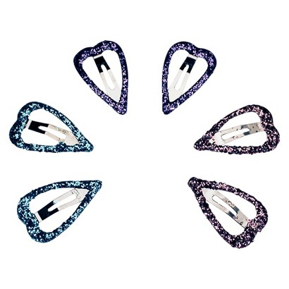 Remington Glitter Heart Clips - 6 Count