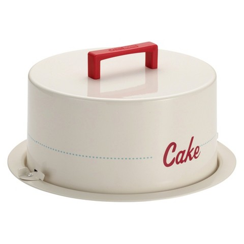 "Cake Boss Serveware Metal Cake Carrier with ""Cake"" message"