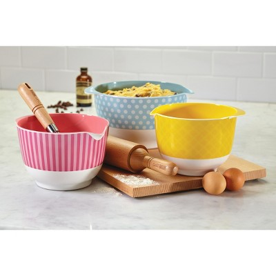 Cake Boss 3 Piece Countertop Accessories Melamine Mixing Bowl Set