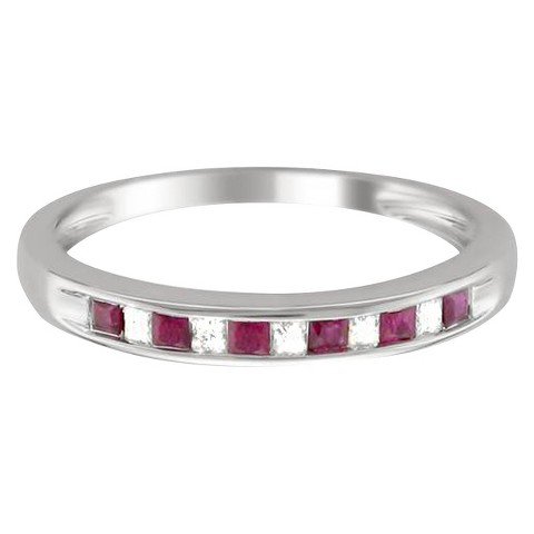 1/10 CT. T.D.W. Princess-cut Diamond and Ruby Channel Set Band in 14K White Gold (HI-I1-I2)