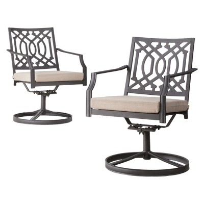 Harper 2-Piece Metal Patio Motion Dining Chair Furniture Set - Tan - Threshold™