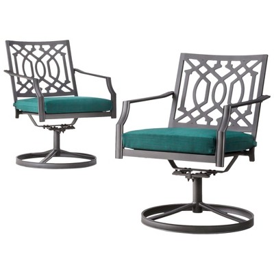 Harper 2-Piece Metal Patio Motion Dining Chair Furniture Set - Turquoise  - Threshold™