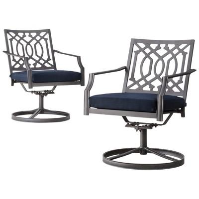 Harper 2-Piece Metal Patio Motion Dining Chair Furniture Set - Navy - Threshold™