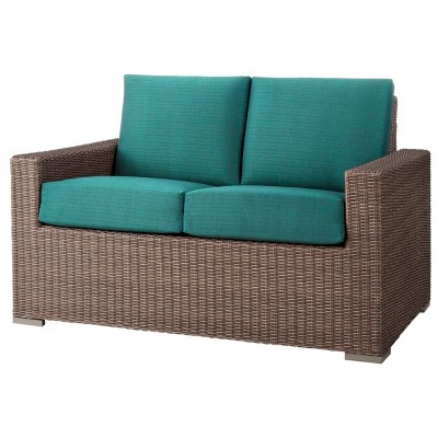 Heatherstone Wicker Patio Loveseat Turquoise - Threshold™