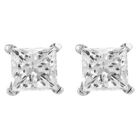 1/3 CT. T.W. Princess-cut Diamond Stud Prong Set Earrings in 10K White Gold (IJ-I2-I3)