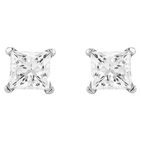 1/4 CT. T.W. Princess-cut Diamond Stud Prong Set Earrings in 10K White Gold (IJ-I2-I3)