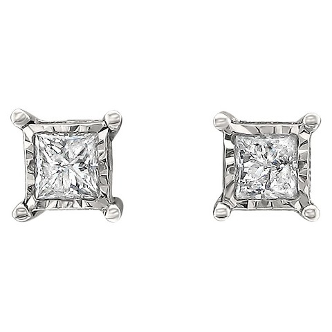 1/3 CT. T.W. Princess-cut Diamond Stud Illusion Set Earrings in 10K White Gold (IJ-I2-I3)