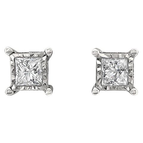 1/2 CT. T.W. Princess-Cut Diamond Stud Illusion Set Earrings in 10K White Gold (IJ-I2-I3)