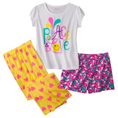 Xhilaration® Girls' 3-Piece Short-Sleeve Pajama Set