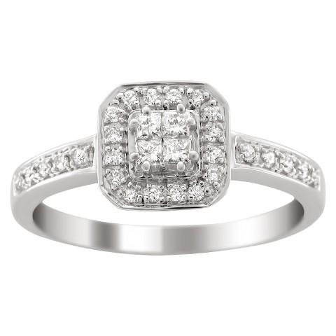 1/3 CT. T.W. Princess-cut Diamond Halo Ring in 14K White Gold (HI-I1-I2)