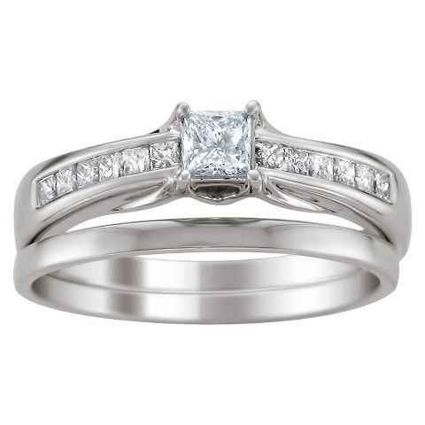 5/8 CT. T.W. Princess-Cut Diamond Bridal Set in 14K White Gold (HI-I1)