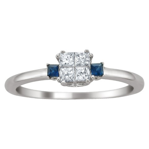 1/4 CT. T.D.W. Princess-cut Diamond and Sapphire Ring in 14K White Gold (GH-I1-I2)