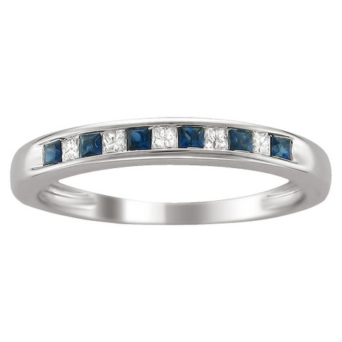 1/10 CT. T.D.W. Princess-cut Diamond and Sapphire Channel Set Band in 14K White Gold (HI-I1-I2)