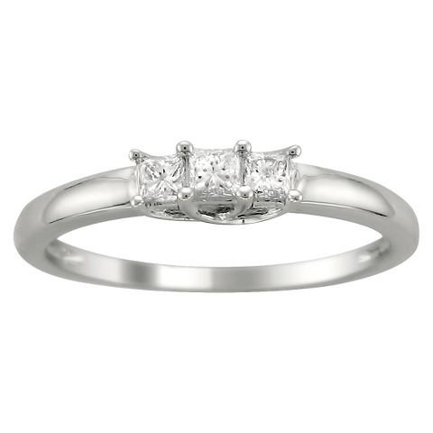 1/4 CT. T.W. 3 Stone Princess-Cut Diamond Ring in 14K White Gold (HI-I1)
