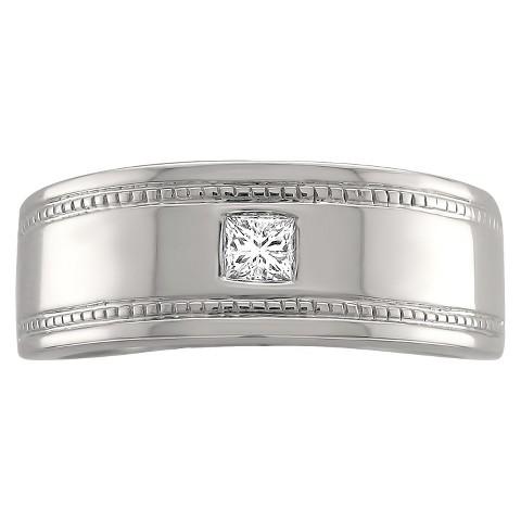 1/6 CT. T.W. Princess-cut Diamond Men's Miligrain Detailed Ring in 14K White Gold (GH-SI1-SI2)