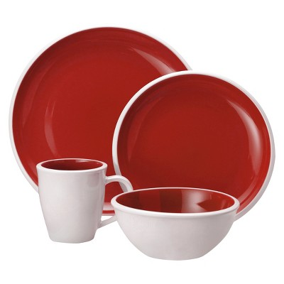 Racheal Ray 16 Piece Dinnerware Set - Red