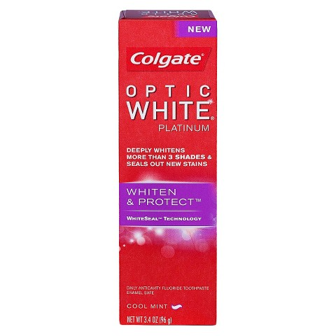 Colgate Optic White Platinum Whiten & Protect Cool Mint Toothpaste 3.4oz