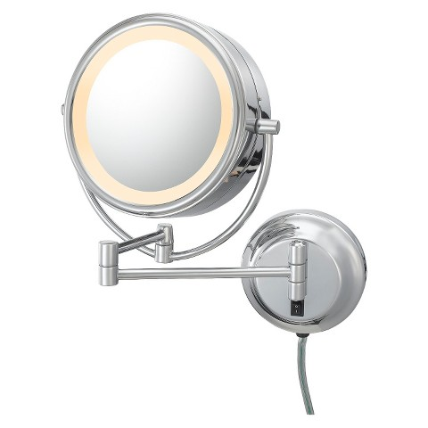 Mirror Image Neomodern Plug-in, Double-sided, LED 5X/1X Lighted Mirror -  Chrome