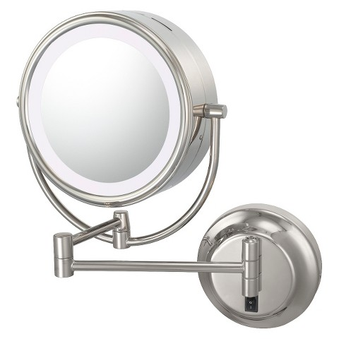 Mirror Image Neomodern Hardwired, Double-sided, LED 5X/1X Lighted Mirror - Chrome