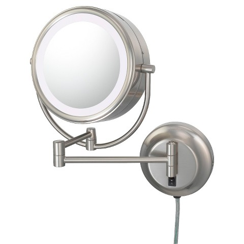 Mirror Image Neomodern Double-Sided, LED 5X/1X Lighted Mirror  - Brushed Nickel