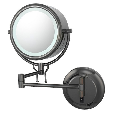Mirror Image Contemporary Hardwired, Double-Sided, 5X/1X Wall Mirror - Black Nickel