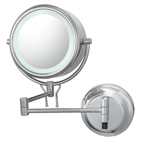 Mirror Image Contemporary Hardwired, Double Sided, 5X/1X Wall Mirror - Chrome
