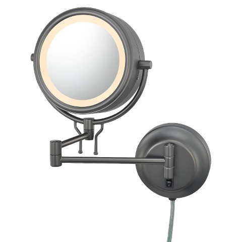 Mirror Image Contemporary Plug-in, Double-sided 5X/1X Wall Mirror - Bronze