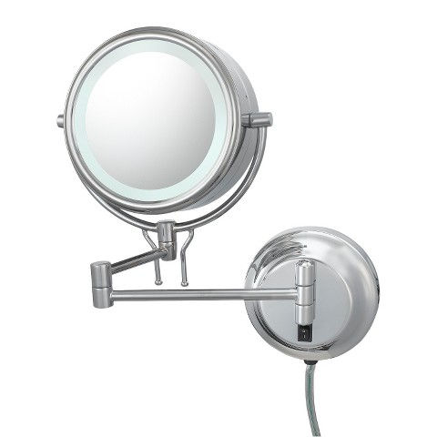 Mirror Image Contemporary Plug-in, Double-sided 5X/1X Wall Mirror - Chrome