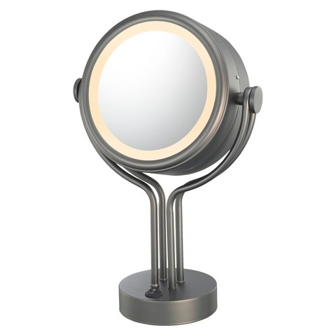 Mirror Image Contemporary Double-sided, Four Post 5X/1X Vanity Mirror - Bronze