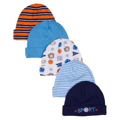 Gerber® Newborn Boys' 5 Pack Sports Hats 0-6 M