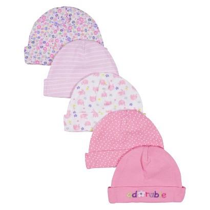 Gerber® Newborn Girls' 5 Pack Print Caps - Pink 0-6M