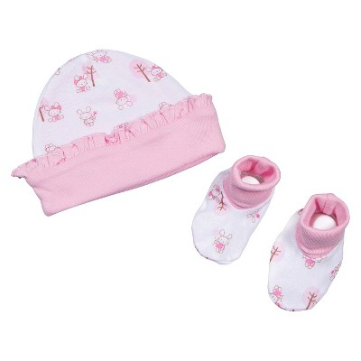 Gerber® Newborn Girls' Bunny Hat and Bootie Set 0-6 M