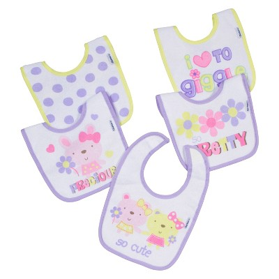 Gerber® Newborn Girls' 5 Pack So Pretty Bunny Bib Set
